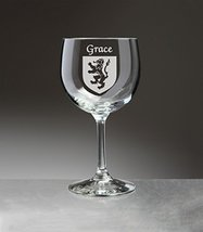 Grace Irish Coat of Arms Red Wine Glasses - Set of 4 (Sand Etched) - $56.79