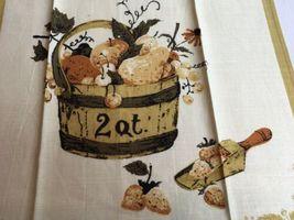 VTG LUTHER TRAVIS 2 QT. Fruit Basket Linen AMERICANA Kitchen Tea Towel UNUSED image 3