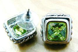 Silver tone Faceted Green Peridot CZ Cubic Zirconia stud earrings $0 sh new image 6