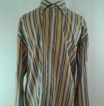 ROBERT TALBOTT Men's XL Dress Shirt Long Sleeve Button Down Stripe Gold ... - €17,81 EUR