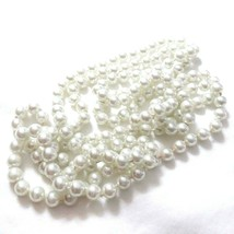 C09 Pearl 60 inch strand Hand knotted high quality white faux pearl strand - $19.75