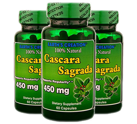 Cascara Sagrada 450mg - 100% Natural - 60 Caps - 3 Pack  by Earth's Creation USA
