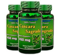Cascara Sagrada 450mg - 100% Natural - 60 Caps - 3 Pack  by Earth's Crea... - $20.67