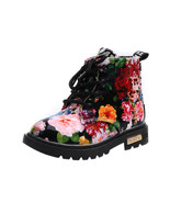 Girls pink and  black Floral ankle boots kids fashion boots girls snow ... - $49.99+