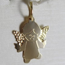 SOLID 18K YELLOW GOLD PENDANT FLAT GUARDIAN ANGEL ENGRAVABLE MADE IN ITALY image 1