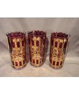 Three 22 kt Gold-Burgundy Culver Scroll Design Highball Glasses Hollywoo... - $40.00