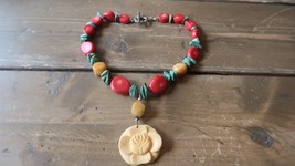 Vintage Sterling Silver Red Coral Turquoise Yellow Jade Flower Necklace ... - $95.03