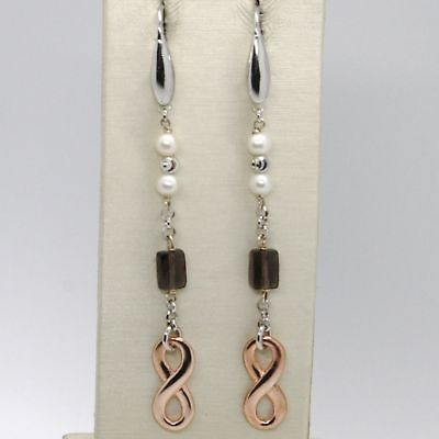 EARRINGS SILVER 925 TRIED AND TESTED WITH INFINITY QUARTZ SMOKED WHITE PEARLS