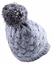 Bench Acrylic Grey White Alanna Peaked Bobble Pom Knit Beanie Winter Hat NWT image 2