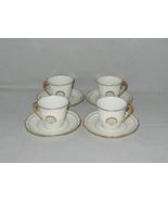 Limoges Edition Christofle Gold Shells Porcelain Demitasse Cups & Saucer... - $60.00