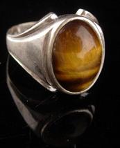 Vintage Mens Tiger Eye Ring - sterling tigereye - size 11 - Spiritual st... - $195.00