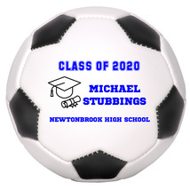 Personalized Custom Class of 2020 Graduation Mini Soccer Ball Gift Blue Text - $34.95