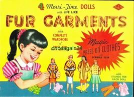 VINTAGE UNCUT 1960s 4 MERRI-TIME FUR GARMENTS PAPER DOLLS~#1 REPRODUCTIO... - $18.99
