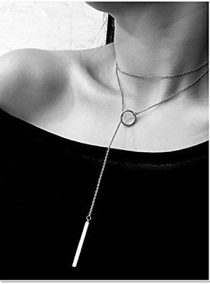 F-U 1Pc Women Metal Ring Stick Pendant Charming Chain Statement Necklace Silver