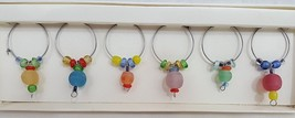 Pier 1 Import Wine Glass Charms - Set Of 6 - Festive Colorful Beads - $19.99