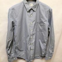 J Crew L Mens Shirt Blue White Striped 2-Ply Cotton Long Sleeve Large Shirtings - $16.64