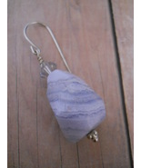 Earrings: Pale Gray Banded Agate, Swarovski Cry... - $20.00