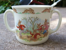 Royal Doulton Bunnykins Two Handled Cup w/ Peter Rabbit & Friends Roller Skating - $14.99