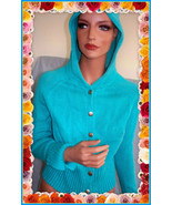 NEW  L JUNIOR TURQUOISE BLUE HOODIE SNAP KNIT CARTIGAN LARGE 11 13  WOW  - $19.99