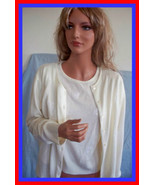 NEW LARGE EMBROIDERED flowers  BEADS  2 PC IVORY WHITE SWEATER SET TWINS... - $29.99