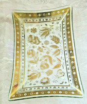 "Georges Briard Persian Garden Rectangular Glass Tray/Plate 6"" by 8"" Signed image 2"