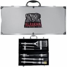 alabama crimson tide 8 pc tailgater stainless steel bbq set with metal case - $126.34