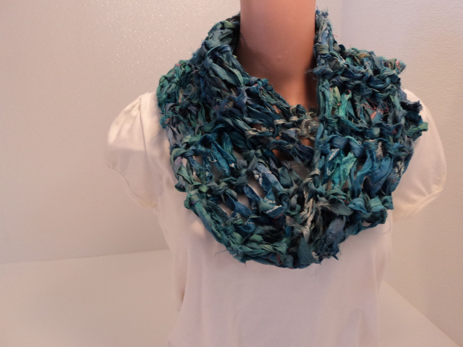 Handcrafted Wrap Cowl Blue Recycled Silk Ribbon Female