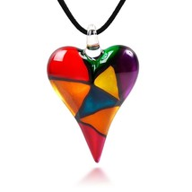 Hand Blown Venetian Murano Glass Multi-Colored Mosaic Design Heart Penda... - $83.37