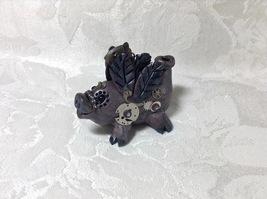 Steampunk Pig Flying Handmade Polymer Clay Mixed Media Small OOAK Desk Art  - $45.00