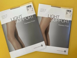 2 New Nordstrom Light Support Flawless Finish Control Top Pantyhose Nude... - $8.90