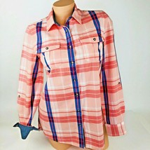 Tommy Hilfiger Womens Blouse Shirt Size S Small Peach Blue Button Up Cotton A10 - $17.14