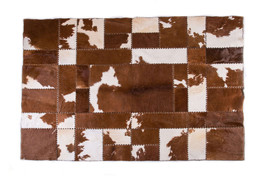 Aydin Brown Sustainable Sourced Cowhide Patchwork Area Rug, 7'9''X5'9'' - $1,590.00