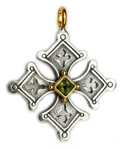 Gerochristo 5057 - Solid 18K Gold & Sterling Silver Coptic Cross Pendant  - $330.00