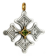 Gerochristo 5057 - Solid 18K Gold & Sterling Silver Coptic Cross Pendant  - $330.00