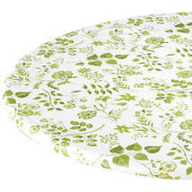 Flowing Flowers Vinyl Elasticized Table Cover By Kitchen-45-56diaRound-SAGE - $17.74