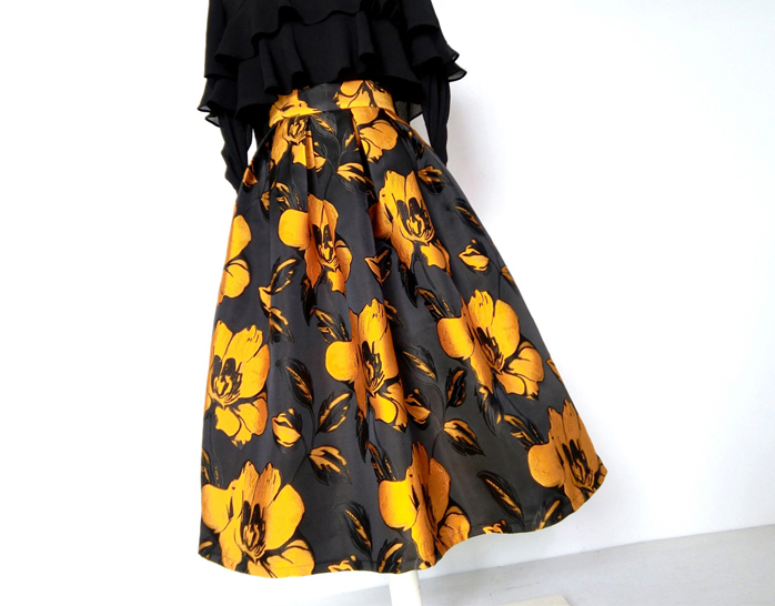 Yellow flower skirt long skirt 3