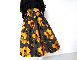 Yellow Floral Pleated Midi Party Skirt African Style Lady Tea Length Party Skirt image 3
