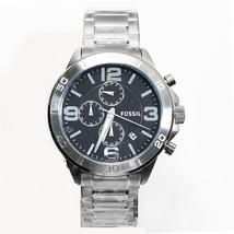 new + box FOSSIL men's Like Style Watch BQ2182 Steel Bracelet Black Face Chrono - £86.23 GBP