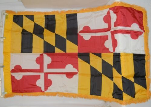 Valley Forge Maryland Flag With Pole Hem And Fringe Three By Five