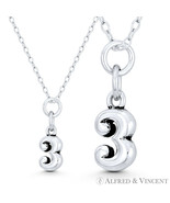 """Tiny Number """"3"""" Three 17x6mm Charm Pendant in Oxidized Solid 925 Sterlin... - $15.04+"""