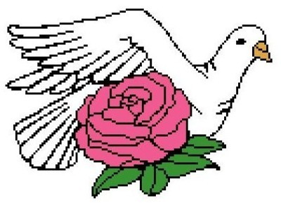 Dove and Rose Color Graph Afghan Pattern