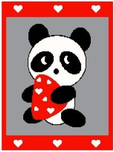 Panda and Hearts Color Graph Afghan Pattern