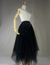 Black Tulle Layered Skirt High Low Tiered Tulle Skirt for Adults Layered Tutu  image 2