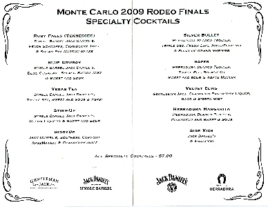 Rodeo Finals 2009 Specialty Cocktails Menu