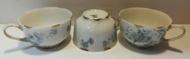 """Hutschenreuther Gelb Set Of Three 3.5"""" Tea Cups Germany White Gold Floral LHS - $23.76"""