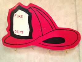 Firefighter Helmet Key Holder Organizer Rack Wooden Handmade - $24.99