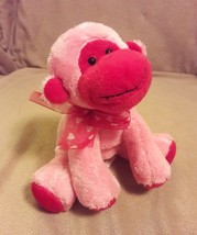 """Russ Berrie Red Pink Monkey Chimp w/ Hearts Bow Beanbag Plush 6"""" Valentines - $9.49"""