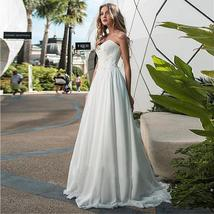 Modest Chiffon Sweetheart Neckline A-line Wedding Dresses Ruched Bodice with Lac image 2
