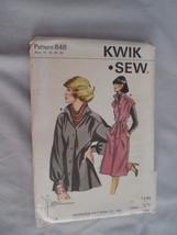 VTG New Dress Jacket Ladies Sewing Pattern Kwik Sew #848 Sizes 14-20 - $2.50