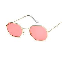 Fashion Men Women Hexagon Square Sunglasses Mirror Retro Rose Gold Sun G... - $9.99